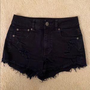 AMERICAN EAGLE Black Ripped Denim Shorts - SIZE 2